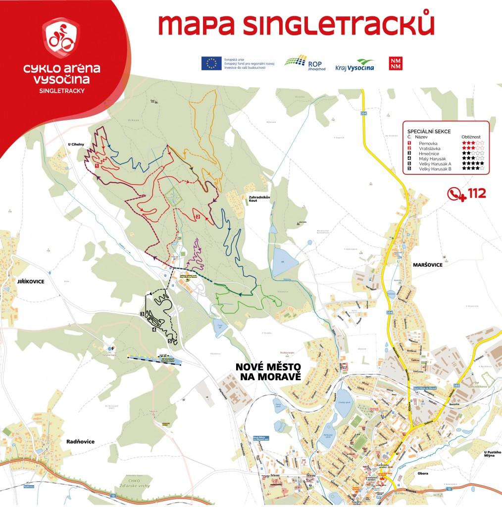 Mapa singletracků v Cyklo Aréně Vysočina